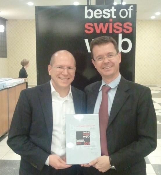 Thomas Brändle, CEO von Run my Accounts und Janis Wolf, Leiter Marketing und Vertrieb an den Best of Swiss Web Awards