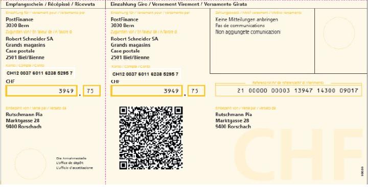 Aktuelle Arbeitsskizze Einzahlungsschein mit QR-Code