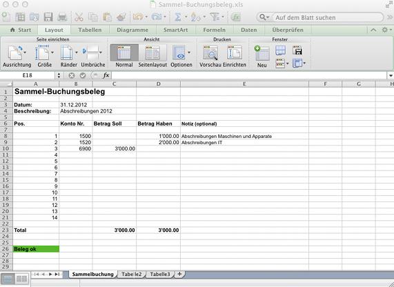 Sammel-Buchungsbeleg in Excel erstellen