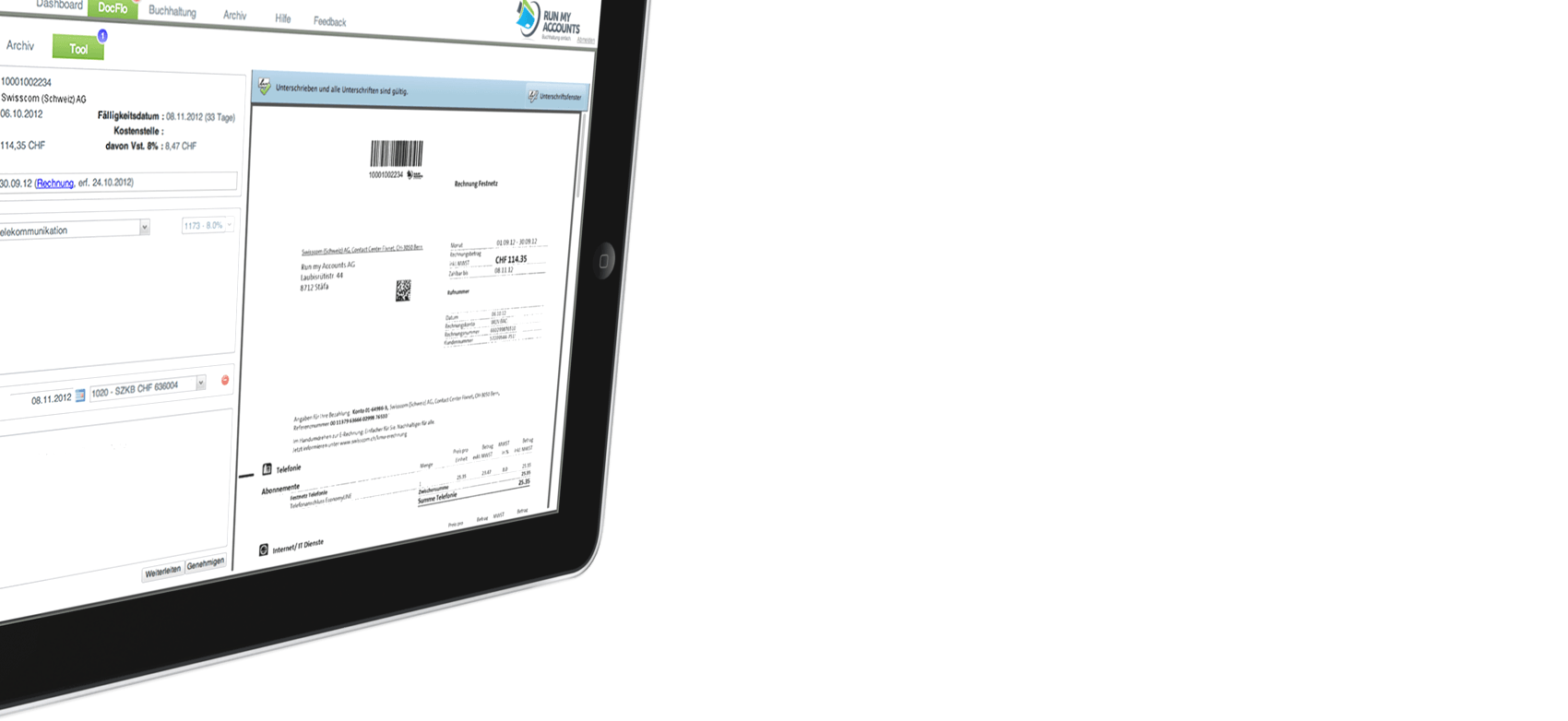 iPad Perspektive mit Online Buchhaltungs Workflow Der Online Buchhalter.