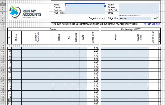 Spesenabrechnung Excel Vorlage