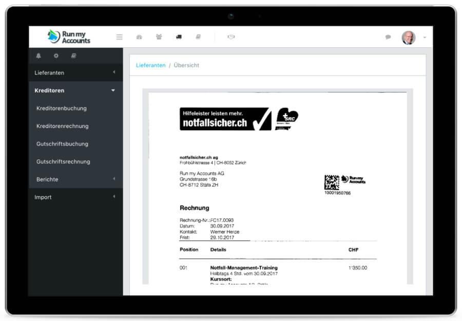 Buchhaltungs-Lösung Tablet mit Workflow