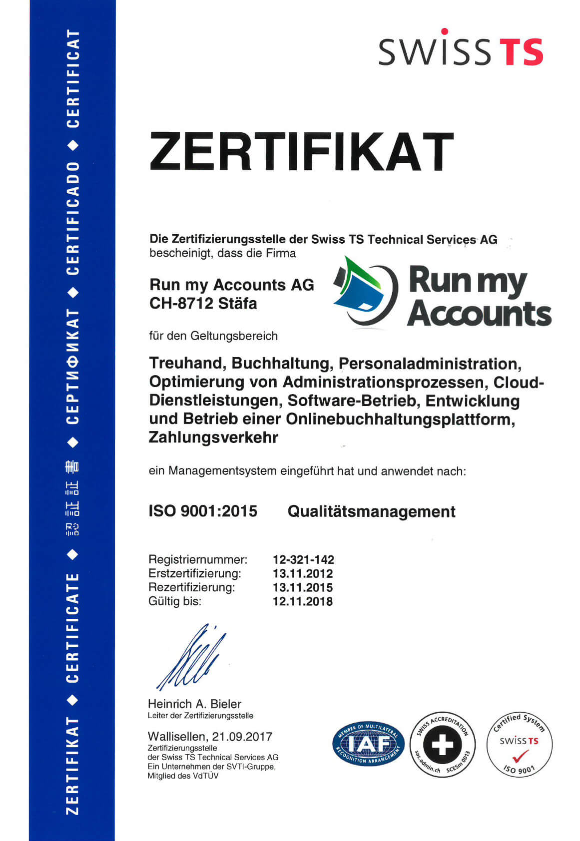 ISO 9001:2015 Zertifikat Run my Accounts AG