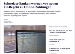 NZZ - Schweizer Banken warnen vor neuen EU-Regeln zu Online-Zahlungen