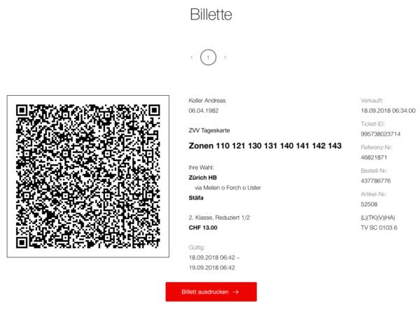 Online Ticket SBB ohne Mehrwertsteuer