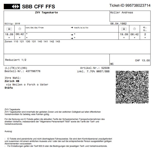 Rechnung SBB heruntergeladen mit Mehrwersteuer