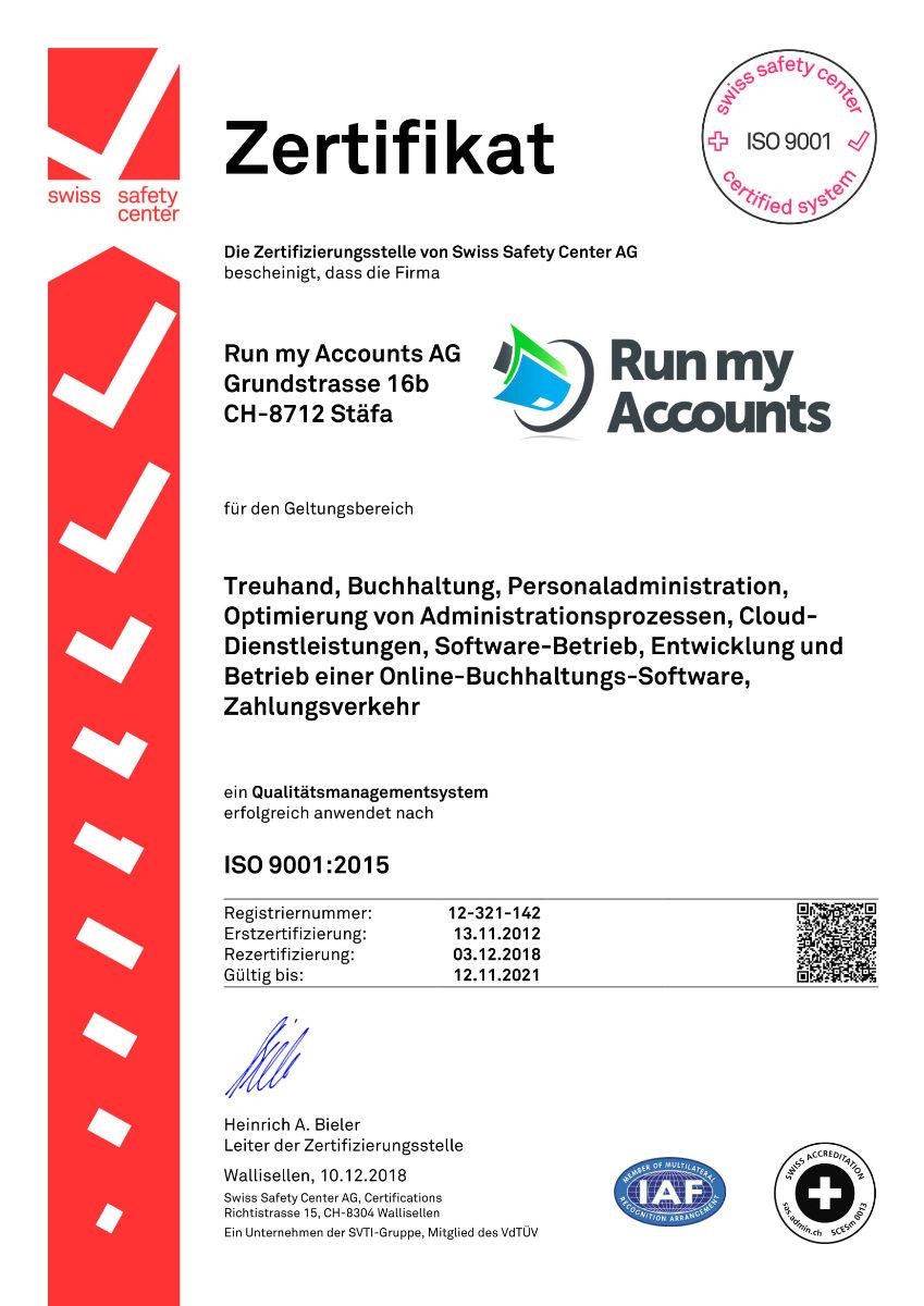Zertifikat IS0 9001 Run my Accounts