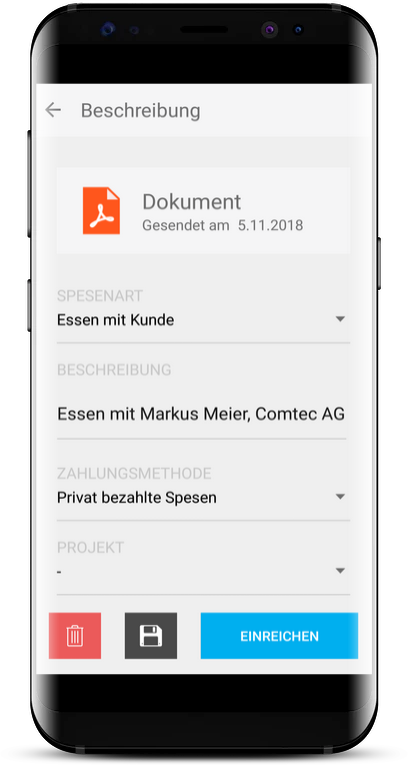Spesenfunktion Run my Accounts App