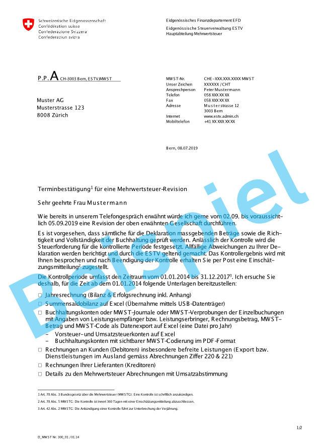 Was ist bei einer Revision zu beachten - Beispielbrief der ESTV