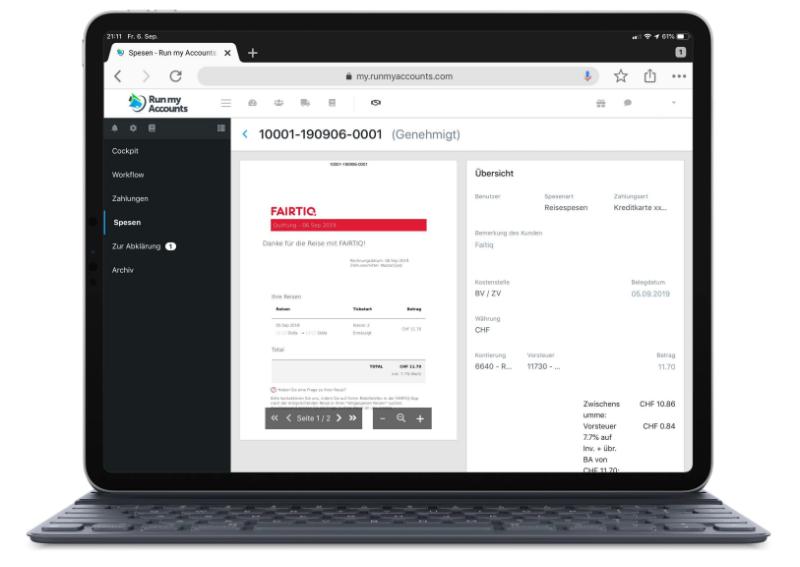 iPad Spesenmodul Online-Buchhaltungs-Software
